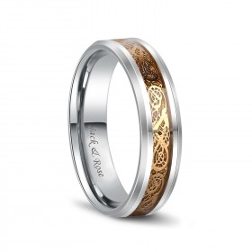 Gold Celtic Rings Dragon Tungsten Carbide Wedding Band 6mm 8mm