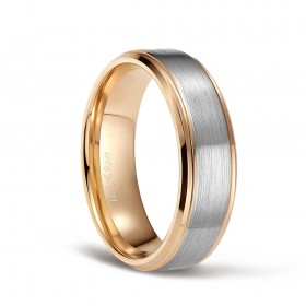 Womens Mens Tungsten Wedding Bands Rose Gold and Silver Brushed with Stepped Edge