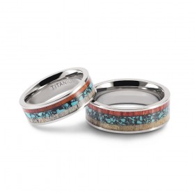 Unique Couple Rings Wood & Turquoise Inlay