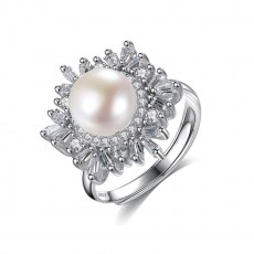 Sterling Silver Pearl Ring with Small Cubic Zirconia Inlay
