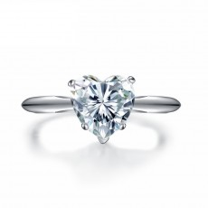 Sona Diamond Engagement Rings Heart Four Claws in Sterling Silver