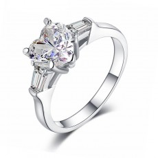 Sona Diamond Ring Heart Shaped 2 Carat Sterling Silver