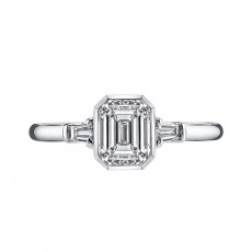 Sterling Silver Emerald Cut Sona Diamond Wedding Bands