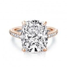 Rose Gold Sona Diamond Engagement Rings Cushion Cut 6 Carat