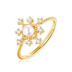 Freshwater Pearl and Cubic Zirconia Rings in 925 Sterling Silver Snowflake Style
