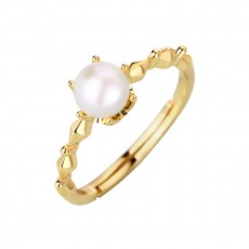 Unique Natural Pearl Rings Adjustable Women Sterling Silver Rings