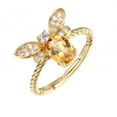 Bee Ring with Yellow Natural Stone in 925 Sterling Silver