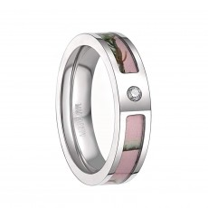 Womens Pink Camo Wedding Rings Titanium Rings with Cubic Zirconia