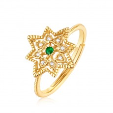 Natural Emerald Engagement Rings Flower Shape Adjustable