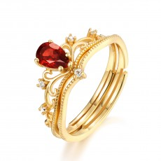 Princess Crown Rings Stackable Rings with Red Gems