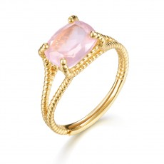 Light Natural Pink Sapphire Ring in Sterling Silver
