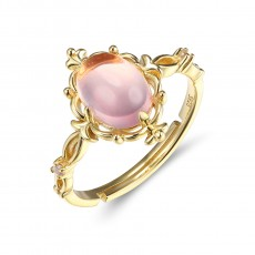 Pink Crystal Vintage Engagement Ring in Sterling Silver