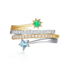 Sterling Silver Stackable Rings with Natural Emerald & Topaz