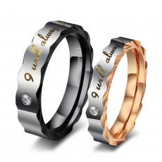 Rose Gold and Black Stainless/Titanium Steel Personalized Rings for Couple