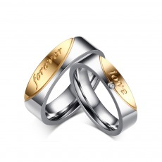 Forever Love Couple Rings Set in Titanium/Stainless Steel