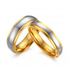 Silver&Gold Tungsten Couple Rings his and hers
