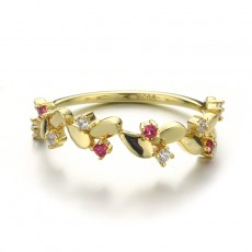Gold Plated Casual Rings Leaf Design with Cz in Sterling Silver