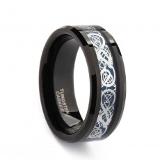 Tungsten Celtic Dragon Ring with Blue Carbon Fiber