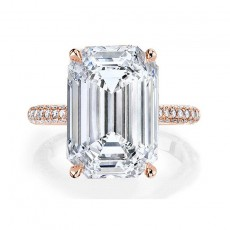 Rose Gold 6 Carat Emerald Cut Sona Diamond 925 Sterling Silver