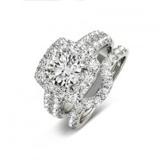 1 Carat Round Cut Sona Diamond Sterling Silver Wedding Sets