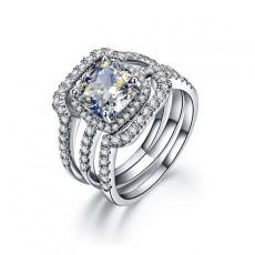 Cushion Cut 925 Sterling Silver Bridal Wedding Rings Sets