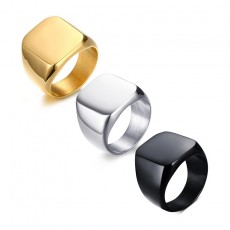 Simple Square Ring Stainless Steel Band Rings Gold/Black/Silver
