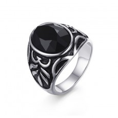 Black Agate Stainless Steel Rings for Men