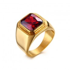 Simple Gold Stainless Steel Rings with Square Ruby Inlay