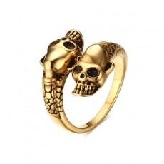 Male Skull Rings Adjustable in Stainless Steel