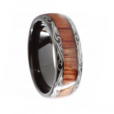 Tungsten Wood Rings Black with Feather Edge