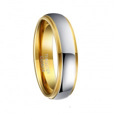 Mens Tungsten Rings Gold and Silver 6mm