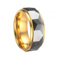 Tungsten Carbide Ring for Men Faceted Gold and Silver