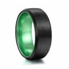 Mens Green Wedding Band with Black Brushed