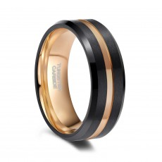 Black Tungsten Engagement Rings with Rose Gold Grooved