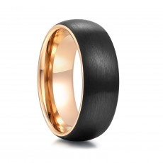 Men's Tungsten Wedding Bands Gold and Black Domed