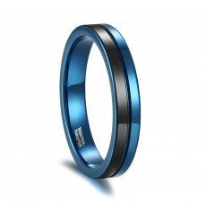 Mens Tungsten Rings Black and Blue Two Tone Mens Wedding Rings