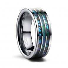 Tungsten Mens Wedding Bands Blue Opal and Abalone Shell Inlay