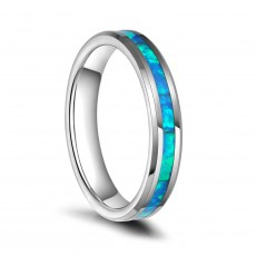 Tungsten Wedding Bands for her Blue Fire Opal Inlay