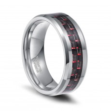 Black and Red Carbon Fiber Inlay Tungsten Wedding Bands for Men