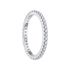 Simple Sterling Silver Rings with Thin Cubic Zirconia