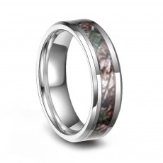 Camo Tungsten Wedding Rings Polished Finish Comfort Fit