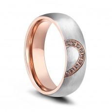 Rose Gold Band Engagement Rings Titanium Half Heart Design for her