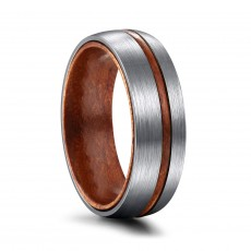 Titanium Wood Rings Silver Matte Domed Finish