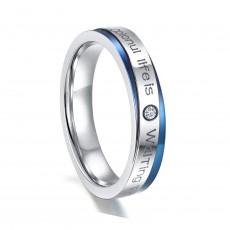 Blue and Silver Stainless Steel Wedding Rings for Men Women