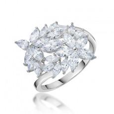 Sterling Silver Engagement Rings for Women Flower Design