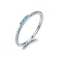 Blue Natural Topaz Wedding Band in Sterling Silver