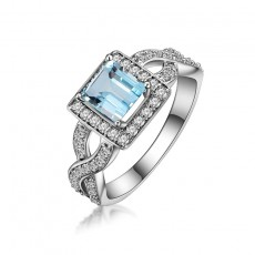 Natural Blue Topaz Sterling Silver Ring Princess Cut