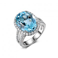 Natural Topaz Wedding Engagement Rings 925 Sterling Silver