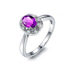 1.25 Carat Oval Cut Amethyst Wedding Rings in Sterling Silver