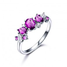Antique Amethyst Rings Round & Pear Cut in Sterling Silver